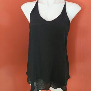 Iz Byer Black Tank Top with Lace Back Size XL
